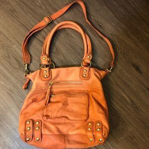 Linea Pelle coral leather handbag